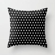 Small dots on black Throw Pillow
