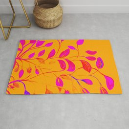 Peaches and Cream Red Leaves Rug