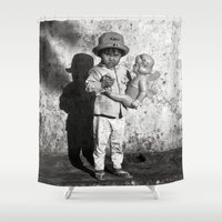 vietnam Shower Curtains featuring GIRL WITH DOLL - VIETNAM by CAPTAINSILVA