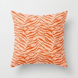 Tiger Print - Orange Throw Pillow