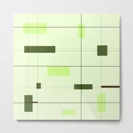 Mid Mod Grid in Green Metal Print