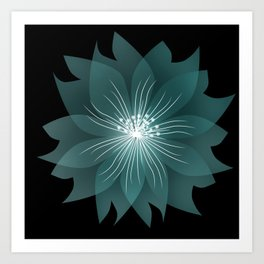 Blue flower on a black background . Art Print