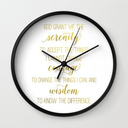 Serenity prayer print, Serenity prayer print wall art, faux gold foil Serenity prayer Wall Clock