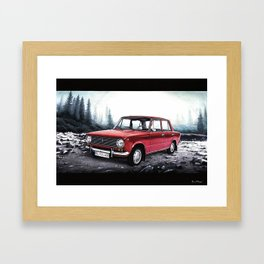 RUSSIAN LADA IN RED WITH SLOVAKIA TATRY MOUNTAINS IN THE BACKGROUND Framed Art Print