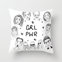 cactei Throw Pillows featuring GRLPWR by ☿ cactei ☿
