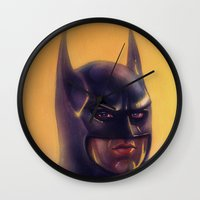 bats Wall Clocks featuring Bats by Jason Wright