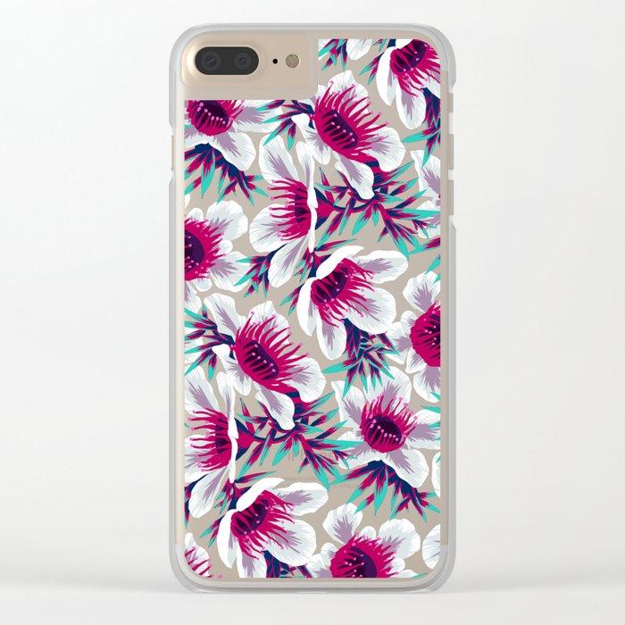 Manuka Floral Print -  Light Clear iPhone Case