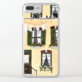 European Apartment, Clothes line, Green Shutter, Birds and Berry Studio Clear iPhone Case