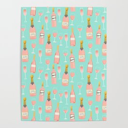 Rose champagne wine food fight apparel and gifts Poster