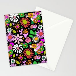 60's Lovers Floral in Black Stationery Cards