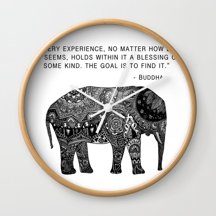 Buddha Quote With Henna Elephant Wall Clock By Madelinemargaret