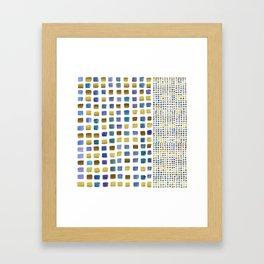 Blue & gold squares Framed Art Print