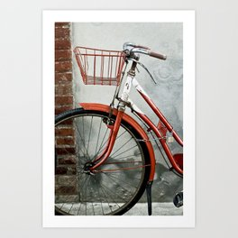Red bicycle Art Print