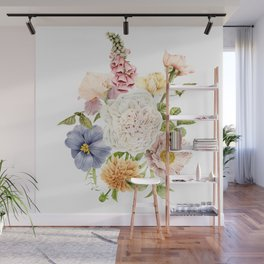 Radiant Blooms Watercolor Bouquet Wall Mural