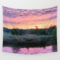 monet Wall Tapestries featuring Monet Inspired Sunrise by Lorri Crossno Nevil