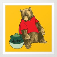 pooh Art Prints featuring Pooh! by Pieterjan Arends