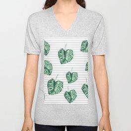 Banana Leaf Pattern and Minimal Black and White Stripes Unisex V-Neck