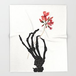 Skeleton Hand with Flower Throw Blanket