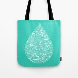 Water Drop – White on Turquoise Tote Bag