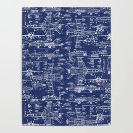F-18 Blueprints Poster
