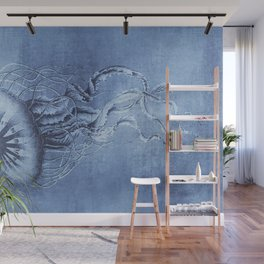Blue Jellyfish Underwater Magic Wall Mural