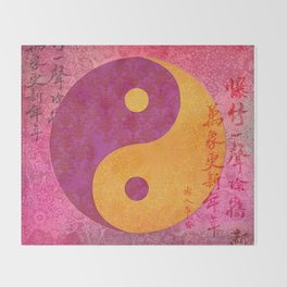Yin and yang pink Watercolor Collage with Calligraphy Throw Blanket