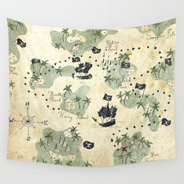 Hand Drawn Pirate Map Wall Tapestry