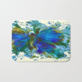 Butterflies are free in teal, blue, green and cream Bath Mat