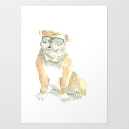 Archie the Cool British Bulldog Art Print