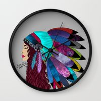 native american Wall Clocks featuring native american  by Lunah