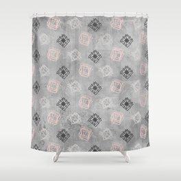 Contemporary Concrete Grid Pattern Shower Curtain