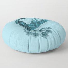 Blue peacock oriental dream Floor Pillow