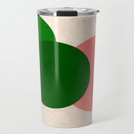 Peach Green Vintage Mod Circles Travel Mug