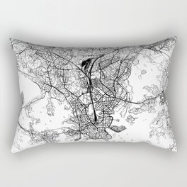 Helsinki White Map Rectangular Pillow