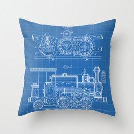 Steam Train Patent - Steam Locomotive Art - Blueprint Throw Pillow