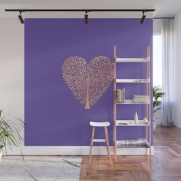 Rose Gold Foil Tree of Life Heart Wall Mural