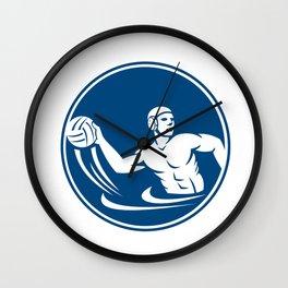 Water Polo Player Throw Ball Circle Icon Wall Clock