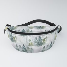 Watercolor forest green snow Christmas pine tree Fanny Pack