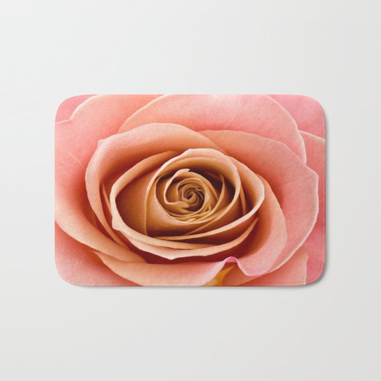 Vibrant Salmon Rose Bath Mat