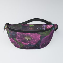 Whimsical Watercolor night garden floral hand paint Fanny Pack