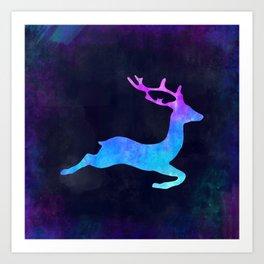 DEER LEAPING IN SPACE // Animal Graphic Art // Watercolor Canvas Painting // Modern Minimal Cute Art Print