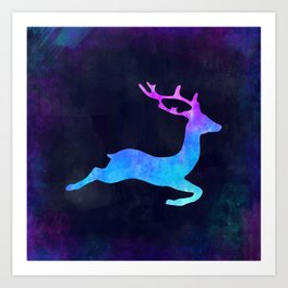 DEER LEAPING IN SPACE // Animal Graphic Art // Watercolor Canvas Painting // Modern Minimal Cute Art Print