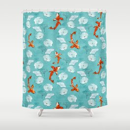 Waterlily koi in turquoise Shower Curtain