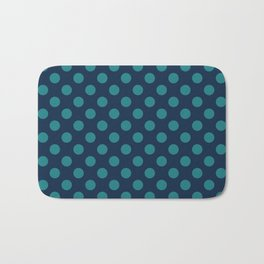 Large Polka Dots in Teal on Navy Blue Bath Mat