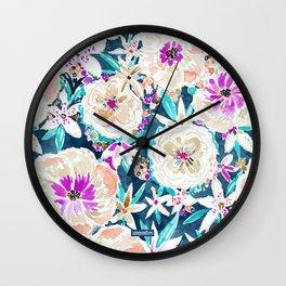 TROPICAL SPLENDOR Watercolor Floral Wall Clock