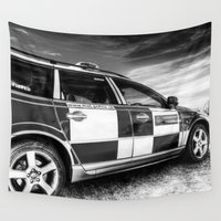 police Wall Tapestries featuring Metropolitan Police Car London by David Pyatt