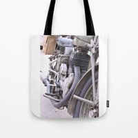motorbike Tote Bags featuring Old motorbike by Carlo Toffolo