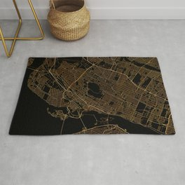 Black and gold Montreal map Rug