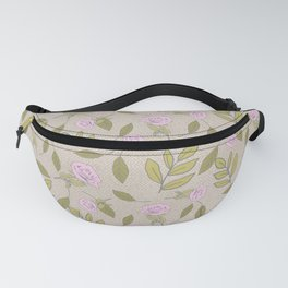Vintage Rose Illustration // Hand Drawn Botanicals, Vintage Flowers and Leaves // Old Rose and Green Fanny Pack