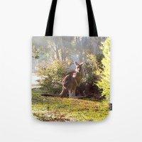 kangaroo Tote Bags featuring Kangaroo by Nove Studio